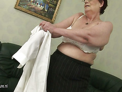 Horny older masturbating slut with a vibrator