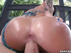 Frisky Christy Mack with black hair is having amazing sex