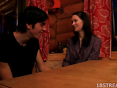 Brunette Hair enjoys sex on wooden table