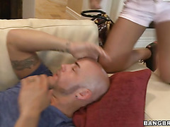 Fabulous black lady is having nasty sex with this xxx hot bald hulk guy
