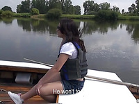 Sickening brunette babe is demonstrating her sexy corpus right on the boat