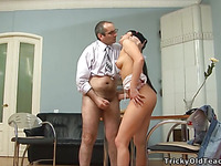 Horny old teacher is humping honey's taut anal tunnel