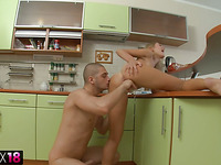 Sexy sexy golden-haired in kitchen bawdy cleft and mouth fuck
