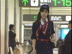 Hot Japanese stewardess in action