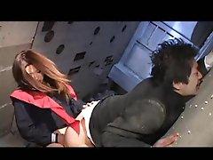 Japanese schoolgirl dominates him harshly