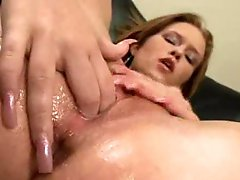 Cutie has two fingers in super wet pussy