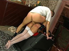 Yummy French maid having a duster shoved up her itchy butthole for a...