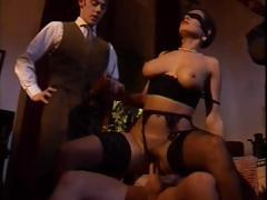 This hot brunette wife gets fucked by her husband and his friends