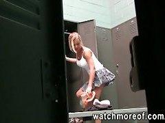 Pervert is peeping in ladies locker room