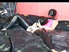 Smoking hot slave girl masturbates in bed before she blows her master