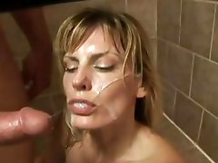 Raunchy Darryl Hanah gets her face sprayed with hot cum