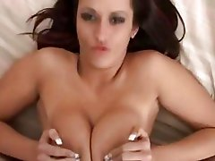 Beautiful brinete does awesome titjob with her massive boobs