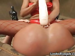 Large dildos and a tongue in her ass get this lesbo cumming loud