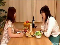 Two hottie Japanese bimbos are neighbors who become lesbian lovers
