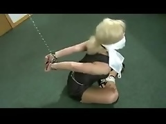 Exciting self bondage with a blonde